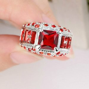 Red Ruby Big Stone White Rhodium Plated Ring